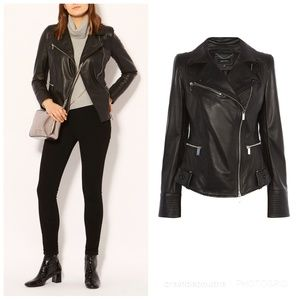 Karen Millen Quilted Leather Motorcycle Jacket 6
